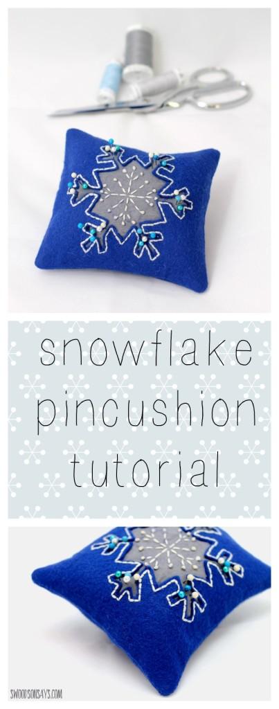 Embroidered Reverse Applique Snowflake Pincushion Tutorial ...