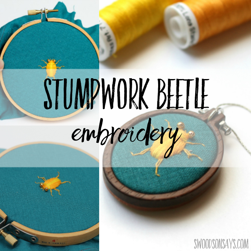 stumpwork beetle embroidery
