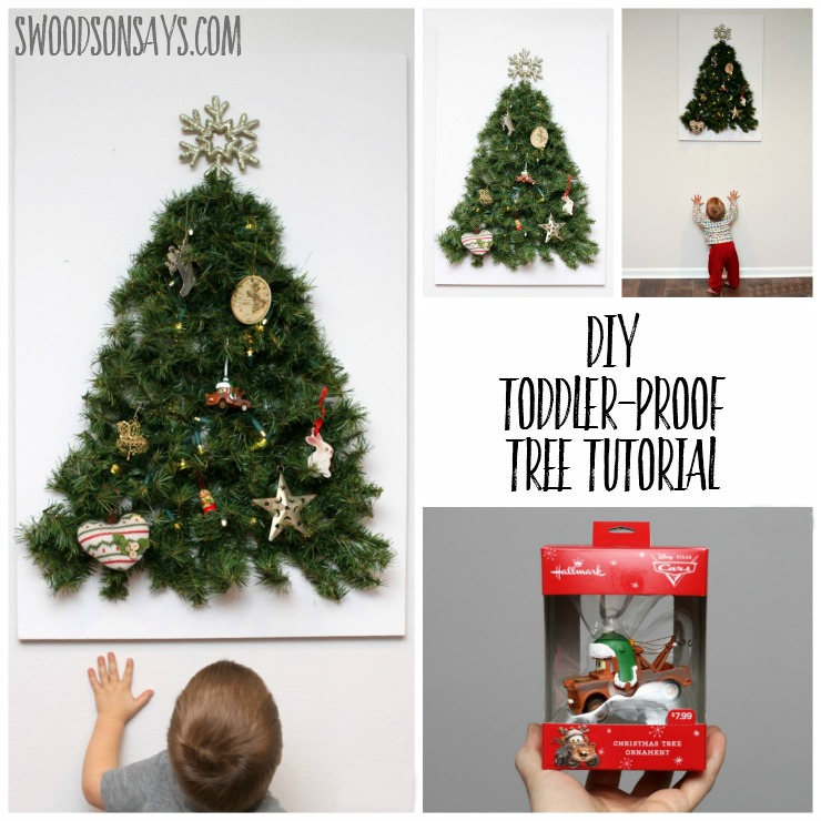 How to make a DIY toddler friendly Christmas tree - keep your fun ornaments as decoration instead of toys with this easy tutorial for a wall tree that is baby proofed! Swoodsonsays.com