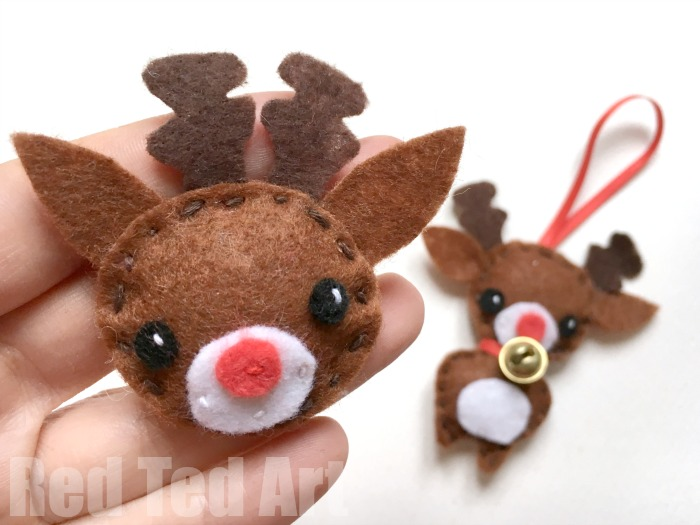 Cute Little Reindeer From Red Ted Art Scandinavian Christmas Gnome Scandinavian Christmas Gnome From Make Film Play Felt Snowflake Ornament