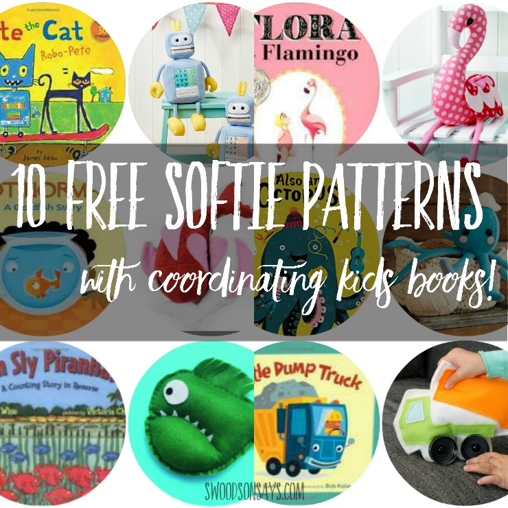 "A list of 10 fresh, free softie sewing patterns paired with coordinating chilren's books! Sew up a fun softie and wrap it up with the matching book for a perfect ""half handmade"" gift!"