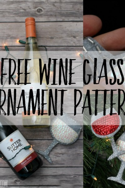 Perfect handmade gift idea for wine lovers - sew up a sequin and felt ornament with this free wine glass ornament sewing pattern! #diychristmasornament