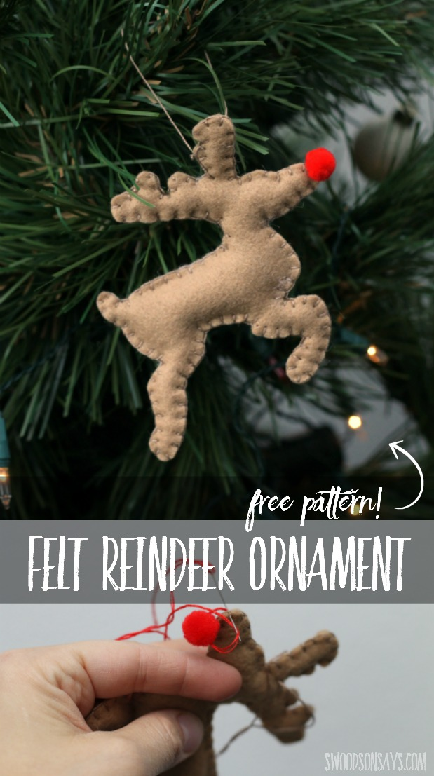 Sew up this felt reindeer ornament for the holidays - it is a great beginner sewing pattern that you can do all by hand!