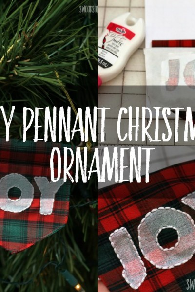 Sew an easy embroidered Christmas ornament, in the shape of a modern pennant! Fabric paint and freezer paper makes this stencil easy, and it looks fresh and modern.