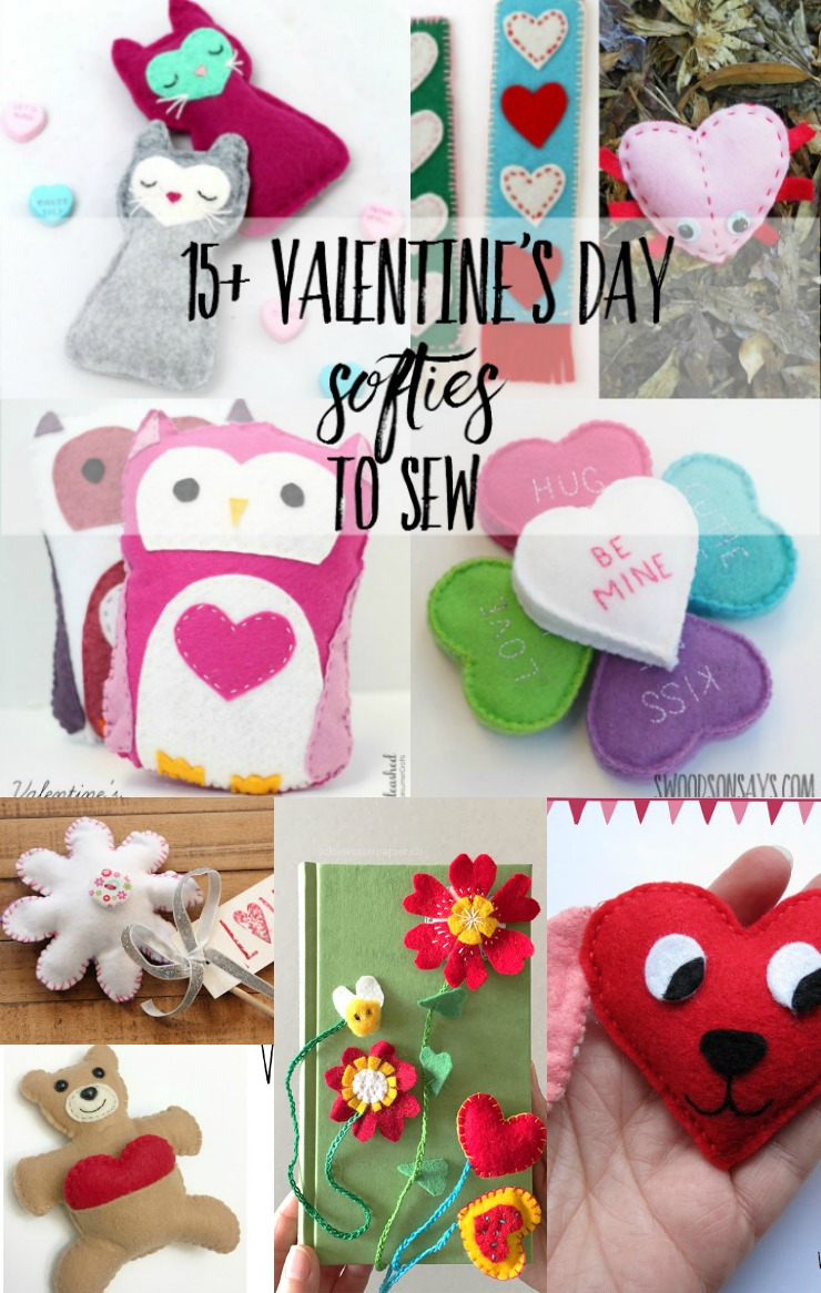 A round up of fun things to sew for Valentine's Day, with cute softie sewing tutorials and free patterns!