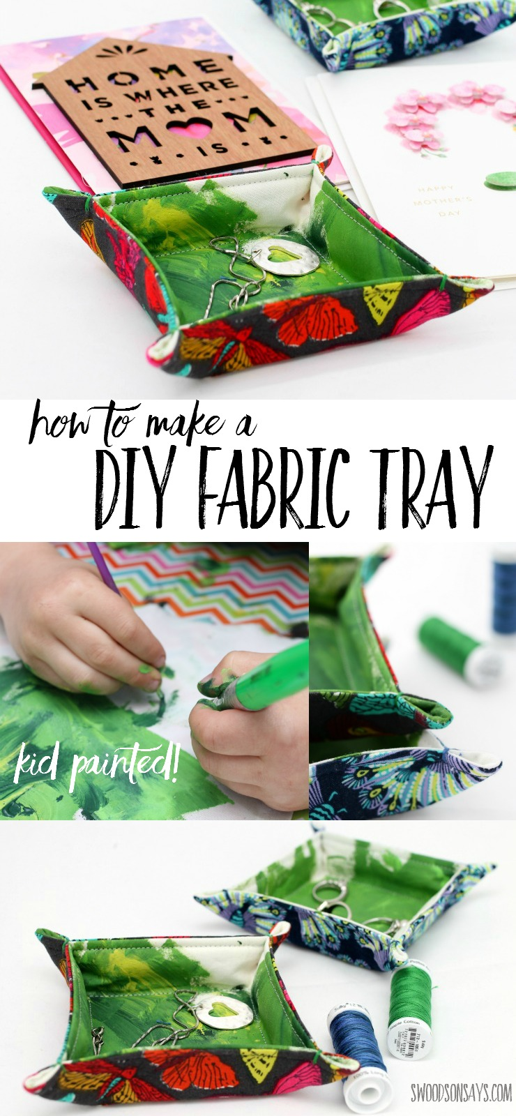 How To Make a Fabric Tray - let your kids join in and paint fabric to make a gift for Mother's Day! Fabric trinket trays are a great beginner sewing project that uses up fabric scraps. #ad #hallmarkformom #socialfabric