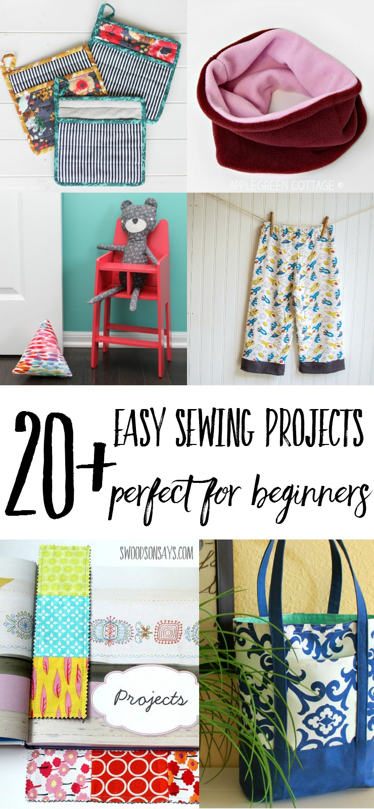 A big list of beginner sewing projects that are fun and easy to make! Simple sewing tutorials with pictures to help along the way, there is a beginner sewing project for everyone on this list!