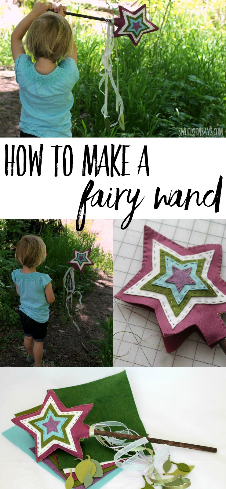 Learn how to make this diy fairy wand with beautiful wool blend felt, ribbon, and a spoon (super strong, so it won't break!). It's a perfect forest fairy accessory - free fairy wand pattern in a sponsored post.
