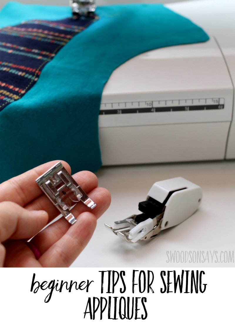 Not sure where to start appliquing fabric designs? Check out these beginner tips to get started! Step by step instructions for simple machine applique, tools to make it easier, and links to free applique patterns. #applique #sewing