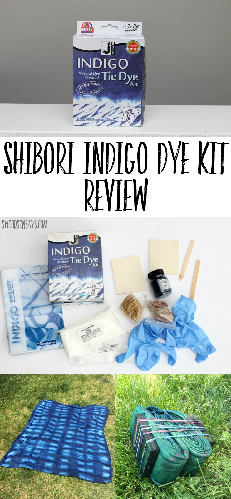 Shibori Indigo Dye Kit Review - see what is inside this cheap kit, that dyes up to 15 shirts! Shibori tie dye kits make it simple and easy to experiment with natural indigo dye.