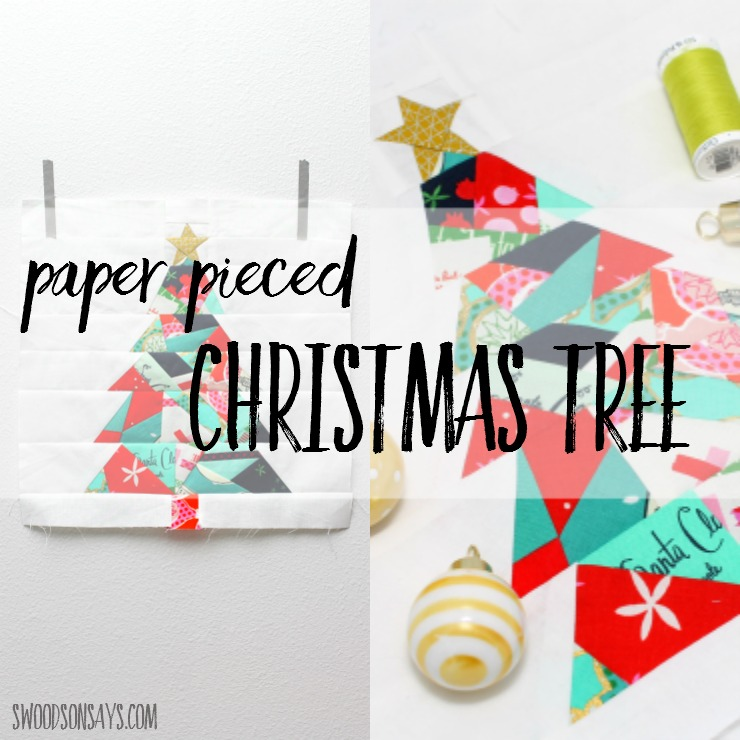 Check out this paper pieced Christmas tree! A modern Christmas quilt sewing pattern, it's a great first paper piecing pattern to try and uses up the smallest of scraps.