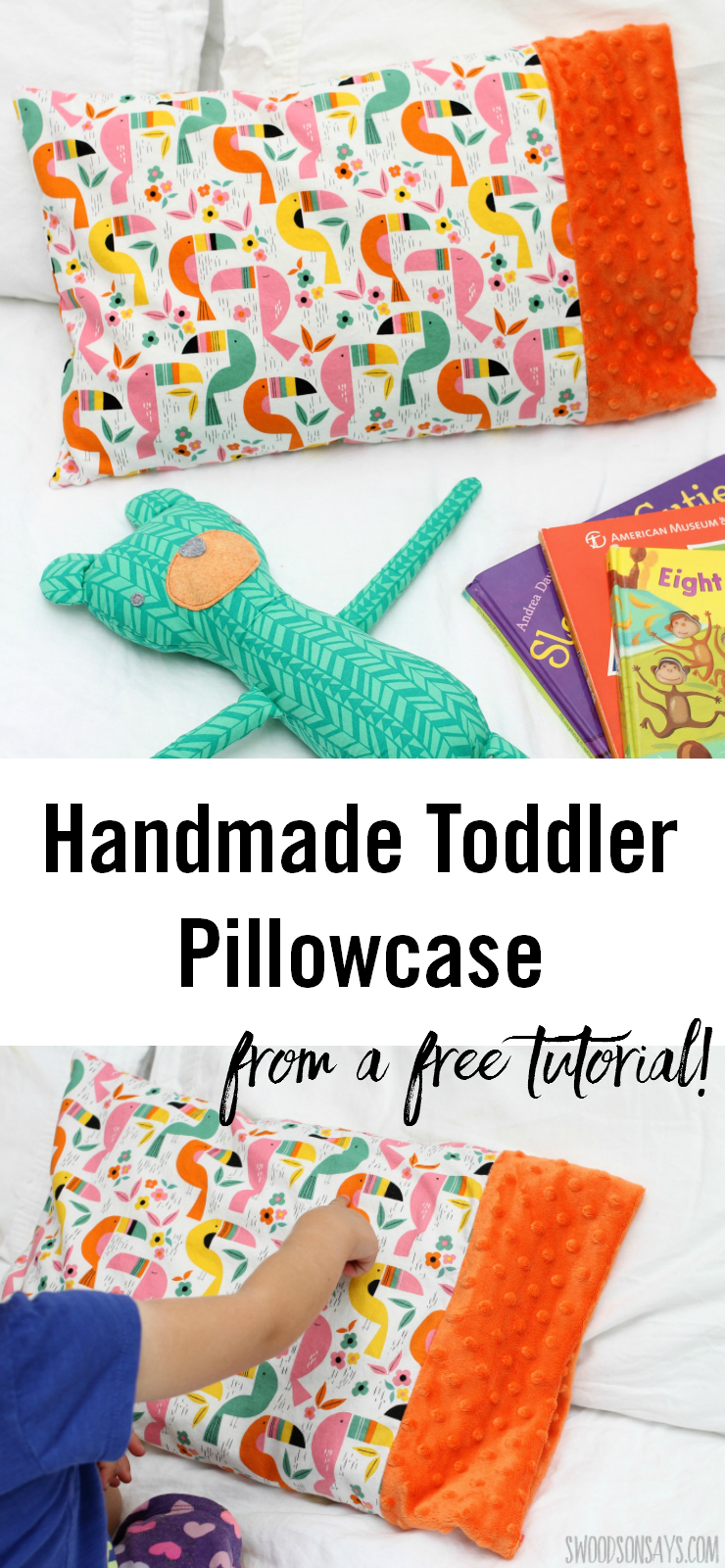 See how I used a free toddler pillow case pattern from Coral + Co. to make the cutest minky edged pillow! Perfect for little kids or as a travel pillowcase to sew, this is a quick and easy sewing project perfect for beginners or using up minky scraps.