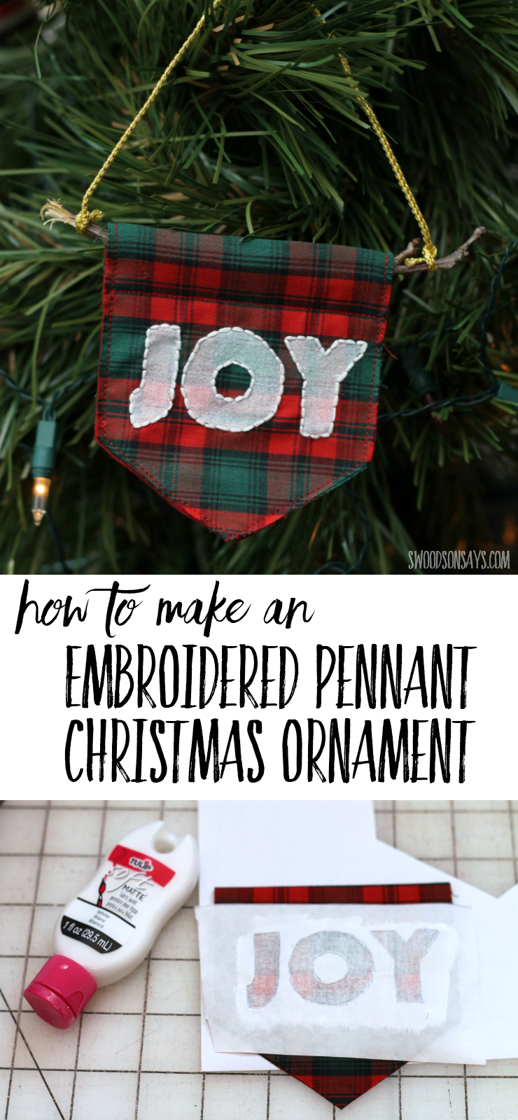 Check out this classic handmade Christmas ornament tutorial! Simple embroidery and fabric scraps create a simple message for your Christmas tree decor - joy! These would be easy ornaments to make for craft fairs, start sewing! #diychristmas #diychristmasornament #embroideredchristmasornament