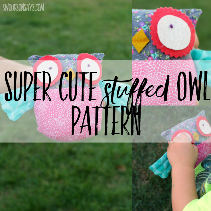 Check out this sweet stuffed owl pattern designed by Abby Glassenberg Design! Quick to sew and fun to hug, this owl softie sewing pattern is perfect for gift giving. #owlsoftie #owlpattern#plushowl #owlstuffie