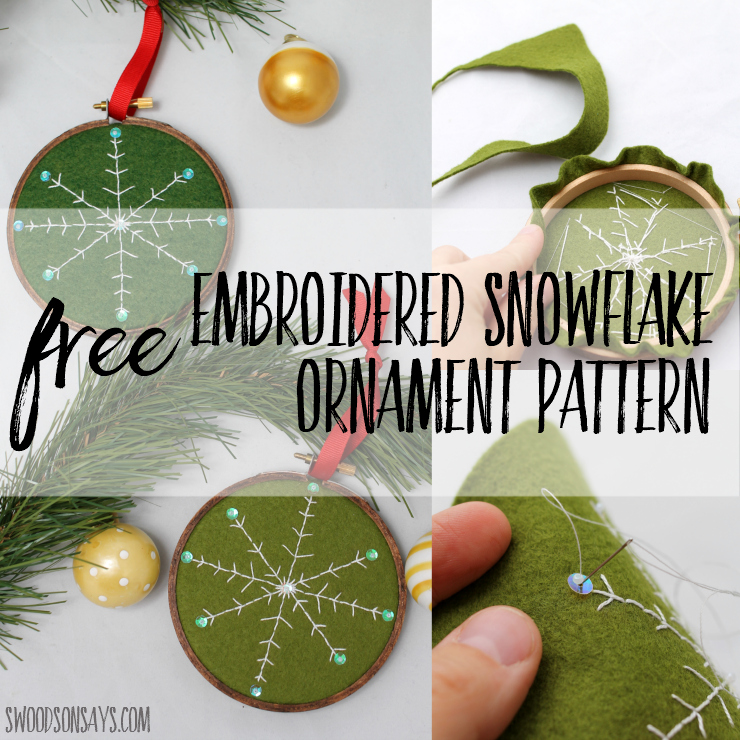 free diy embroidered snowflake ornament pattern to stitch up and gift this year embroidery hoop - Embroidered Christmas Ornaments