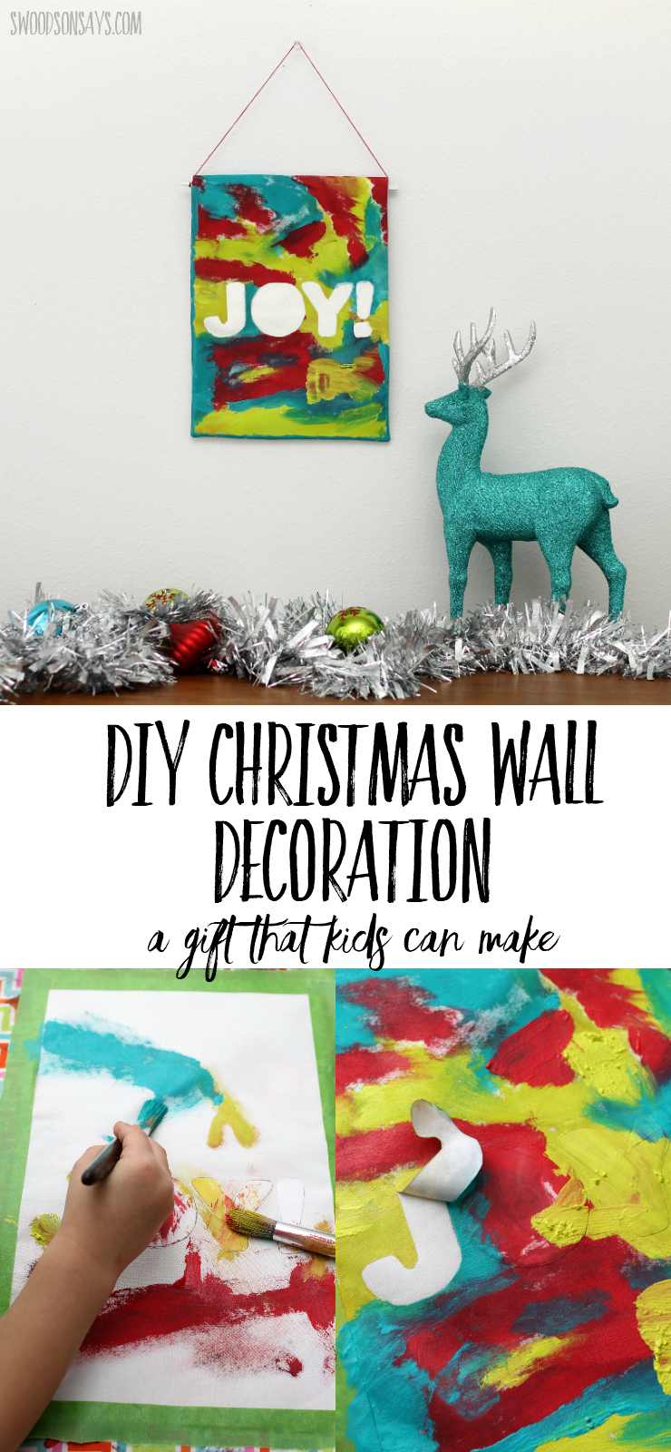 Check out this fun and easy DIY Christmas wall decoration that you can make with your kids! They will love painting the design and older kids can easily sew it as well. Perfect Christmas gift that kids can make and be proud of! #giftskidscanmake #diychristmasgift