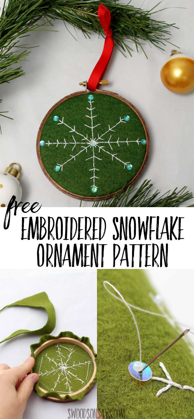 Free DIY embroidered snowflake ornament pattern to stitch up and gift this year! Embroidery hoop ornaments are easy and fun to make, and this snowflake embroidery design uses a simple back stitch that anyone can sew. #diychristmasornament #christmascraft