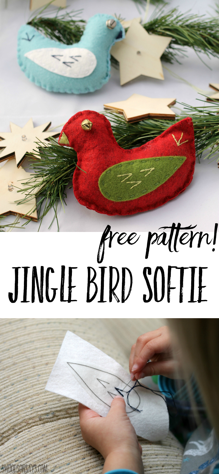 Get cozy this winter and sew a jingle bird! This simple softie is designed for beginner sewists and is perfect for kids to sew. Follow the free pattern to sew a sweet little bird to snuggle or hang on the tree! #softiepattern #diyornament #sewingforkids