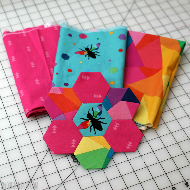 rainbow hexagon fabric