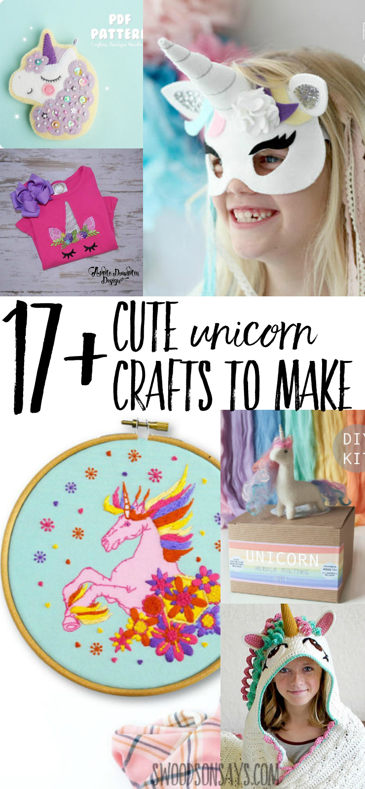 Check out these adorable unicorn craft patterns! Unicorn embroidery, unicorn sewing, unicorn crochet, unicorn applique, unicorns for every crafter and every kid! #unicorncraft #crafts #unicorn