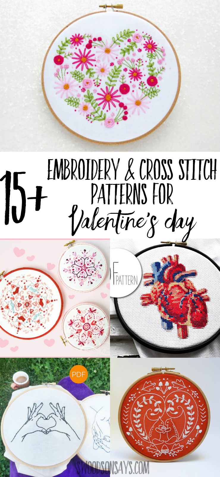 Looking for something to stitch this Valentine's Day? I have a great list of over 15 Valentine's Day embroidery designs and Valentine's Day cross stitch patterns. Perfect for stitching on hoop art, hankerchiefs,blankets, or pillows, make a handmade gift for Valentine's Day! #embroidery #valentine #valentinesday #crossstitch