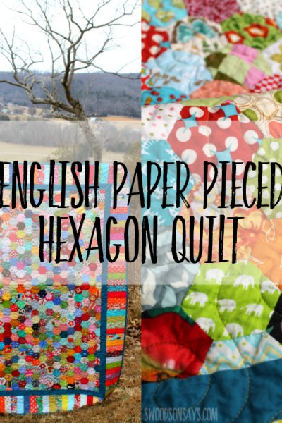 Looking for a hexies sewing project? Check out this beautiful english paper pieced quilt top surrounded by a border! This scrappy quilt is bursting with color and will inspire you to hand sew some hexies ASAP! #quilt #hexies #paperpiecing