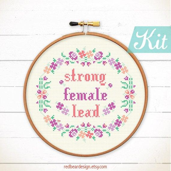 feminist cross stitch kit
