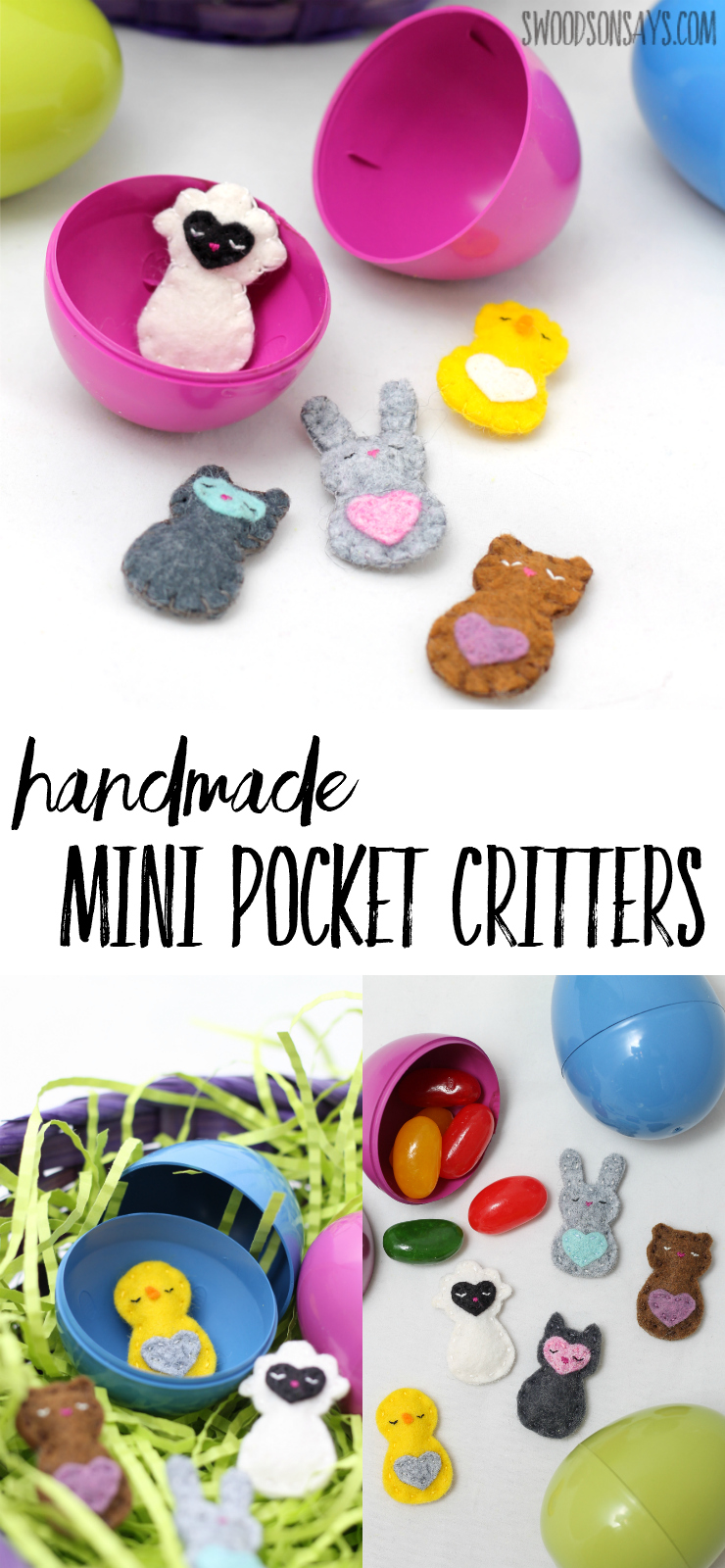 Looking for a fun felt project to sew? These mini pocket critters are teeny tiny, perfect for slipping into Easter eggs or into little pockets; they're all hand sewn and super sweet. A unique idea for handmade Easter egg fillers that aren't candy!