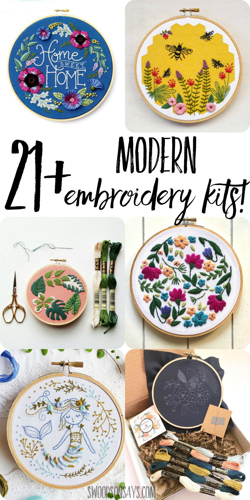 Keep thinking you want to try embroidery? Skip buying all the supplies and try a hand embroidery kit! With everything included, these kits are a great way to try out a new hobby. Modern embroidery kits make great gifts, too, so click through and check out over 20 different modern embroidery pattern makers and the kits that they offer. #embroidery #handsewing