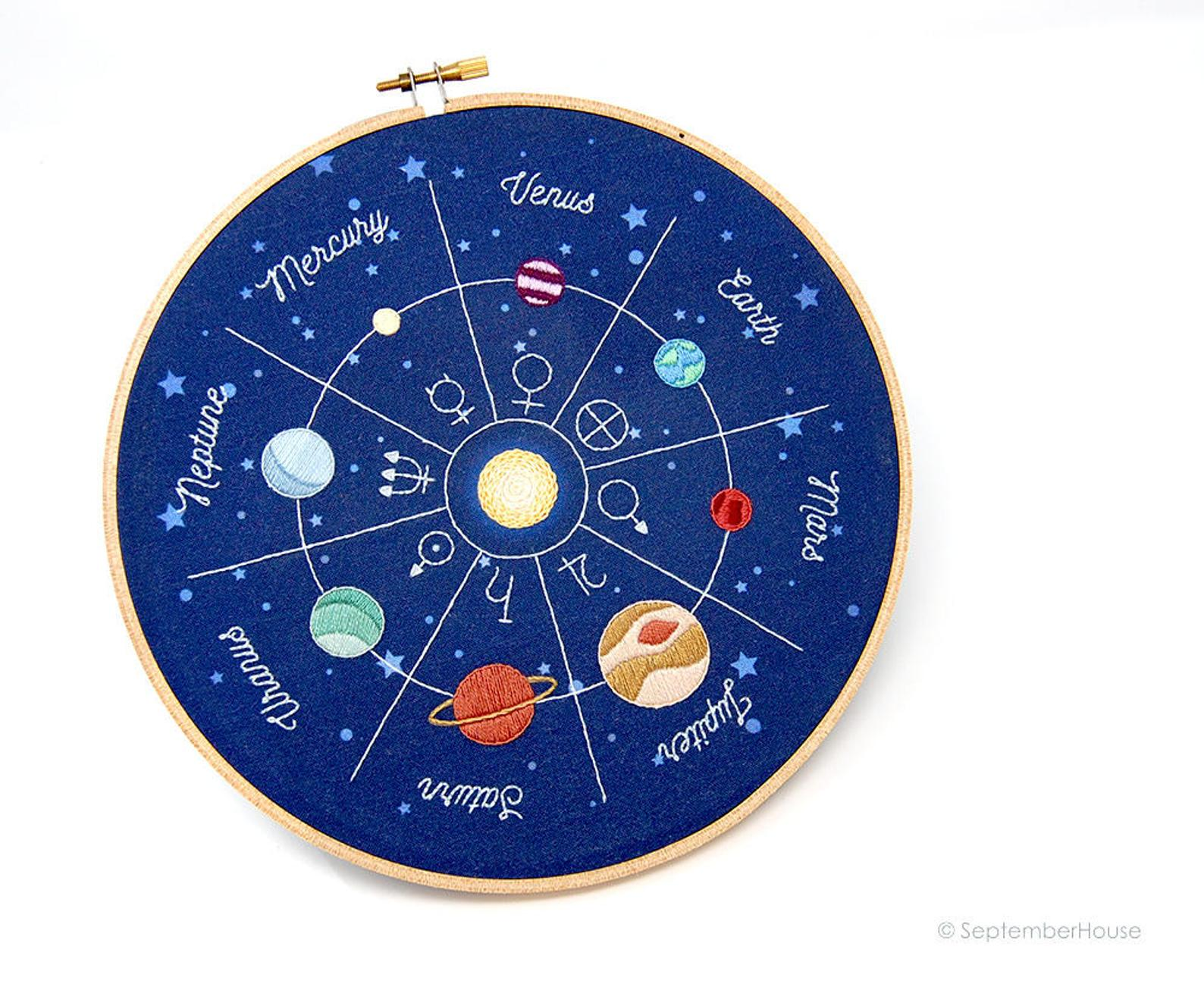 solar system embroidery kit