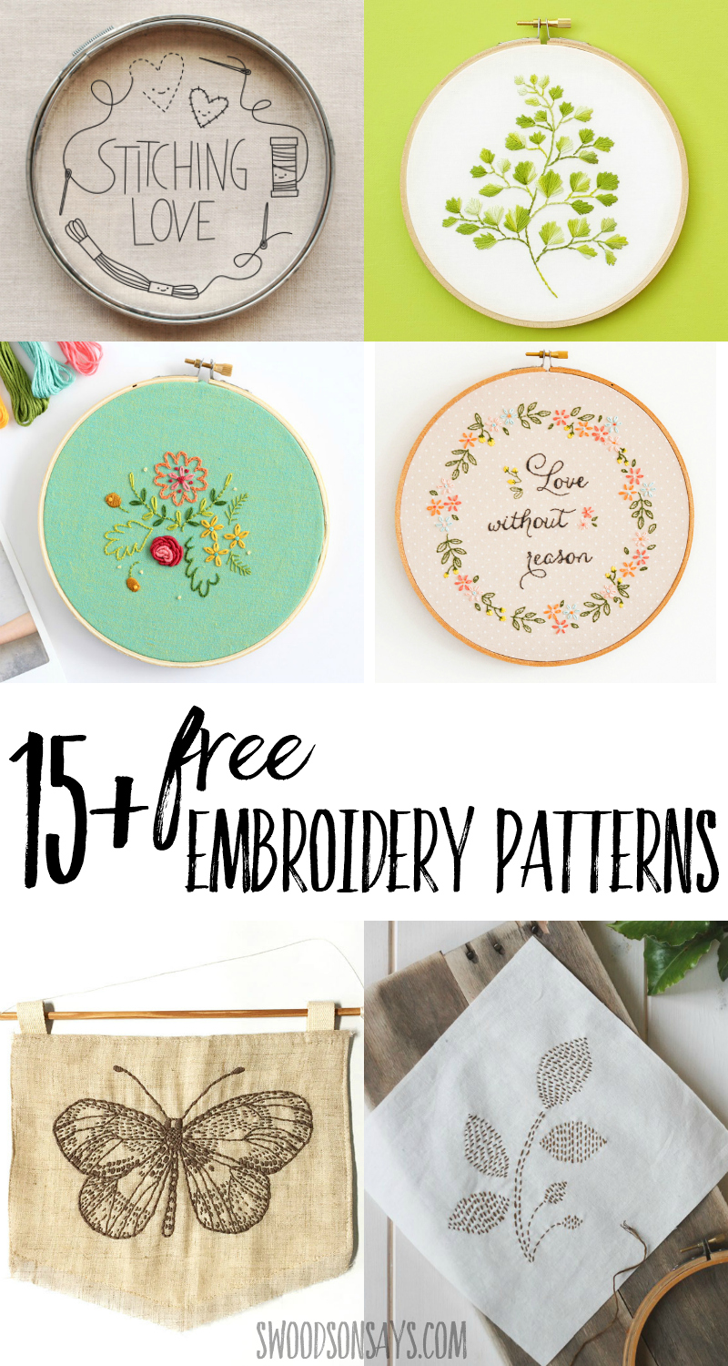 15+ Free Hand Embroidery Patterns - Swoodson Says