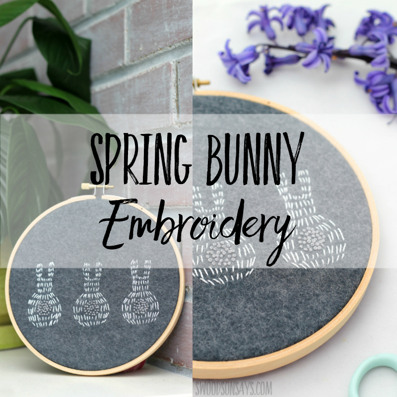 If you're looking for a spring needlework pattern, check out this simple stitching! This bunny embroidery pattern is fun to stitch and an easy embroidery pattern for beginners. Fun Easter embroidery too! #embroidery #bunny #rabbit #easter