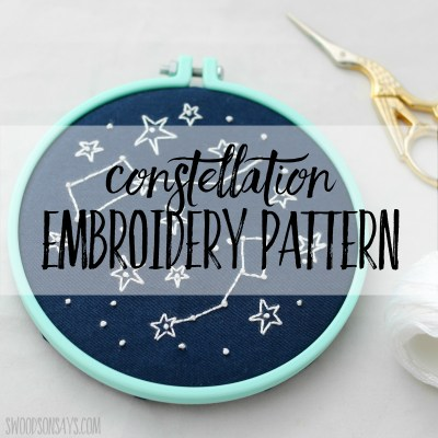 Modern constellation embroidery project