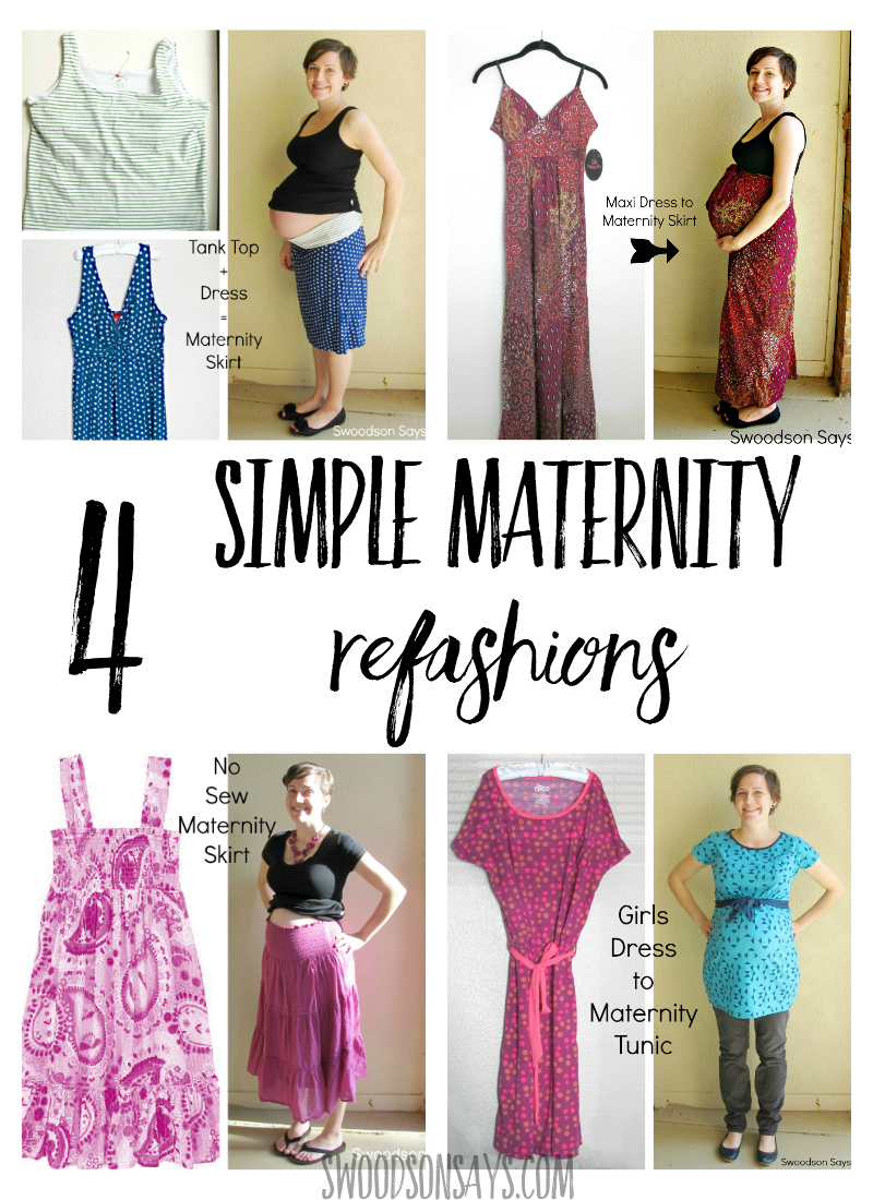 Maternity clothes are expensive so why not try to DIY? Check out these 4 simple sewing tutorials for maternity refashions. It's easier than you think, see how to make your own maternity clothes with these simple hacks and tutorials! #maternity #sewing #refashion