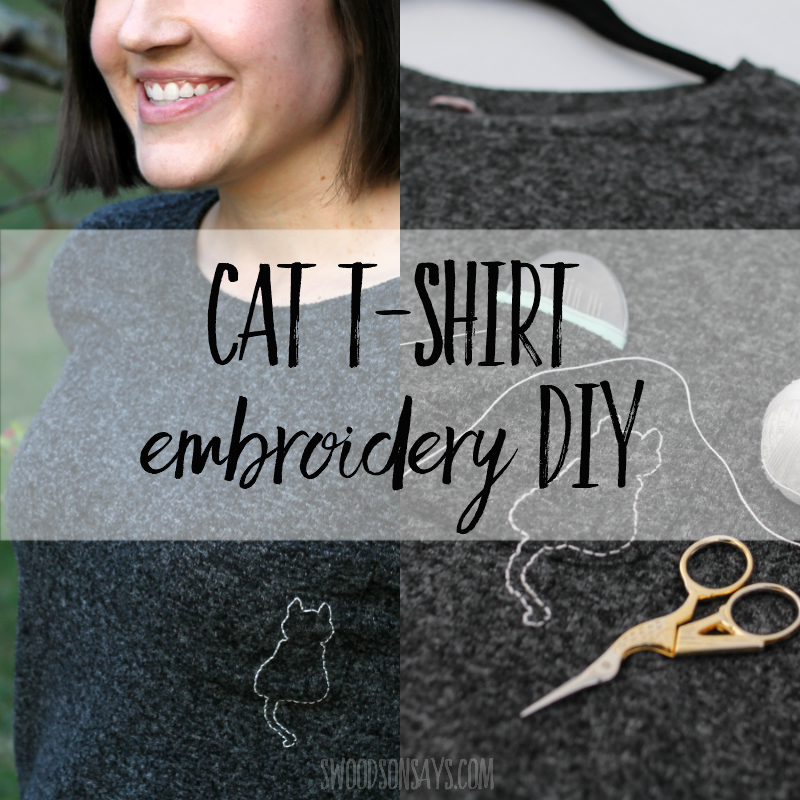 Cat t-shirt embroidery DIY