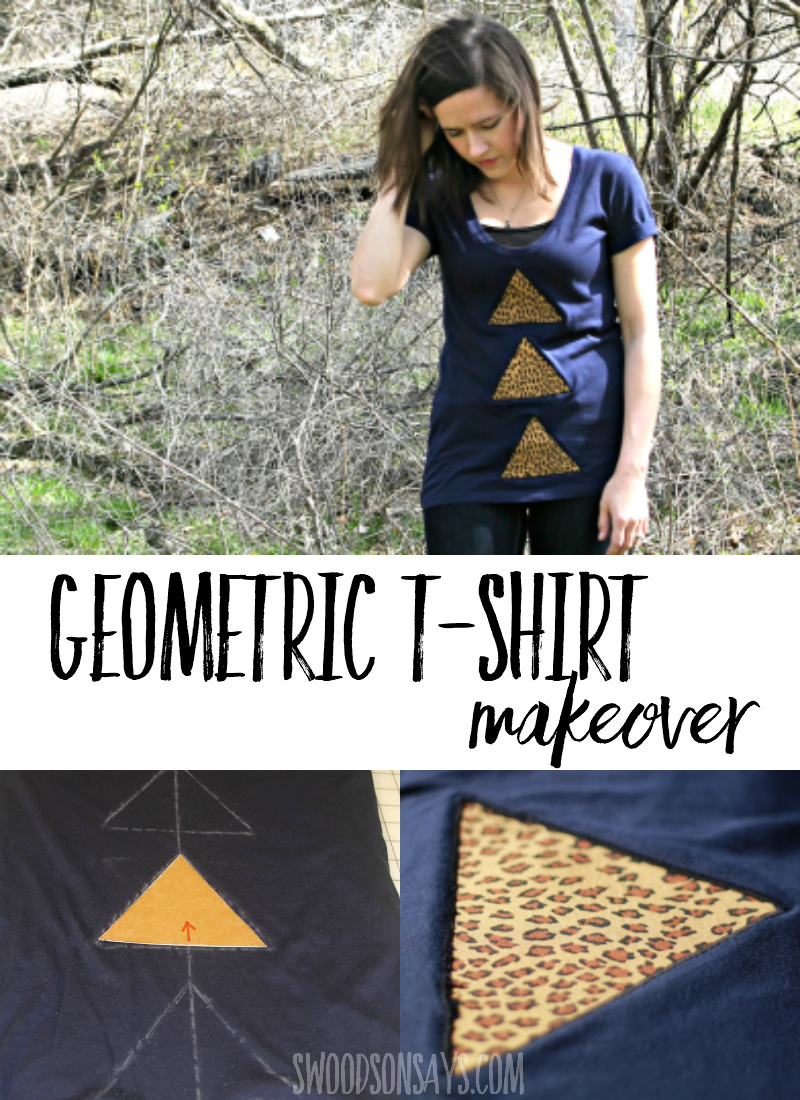 Looking for ways to jazz up a plain tshirt? This is a simple reverse applique trick that shows you how to add geometric details to a shirt. This easy t-shirt refashion is great for adults and teens, totally changing up the look and/or hiding stains. #refashion #sewing #tshirtmakeover #upcycle
