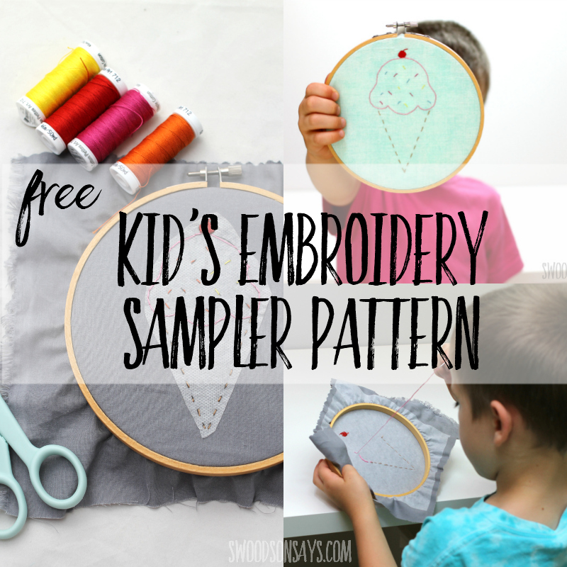Free kid's hand embroidery sampler