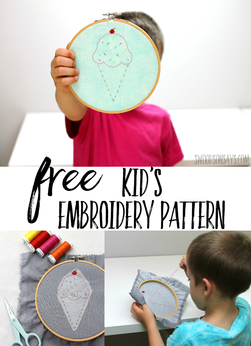 Teach your child to embroider with this simple hand embroidery pattern! Stitching helps kids learn focus, fine motor skills, and exercise their creativity. Start hand sewing with kids today! #embroidery #Handembroidery #kidscrafts #