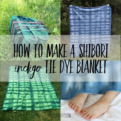 Read this easy tutorial for how to make a shibori indigo tie dye blanket! Super simple, single layer organic fleece is perfect for snuggling.