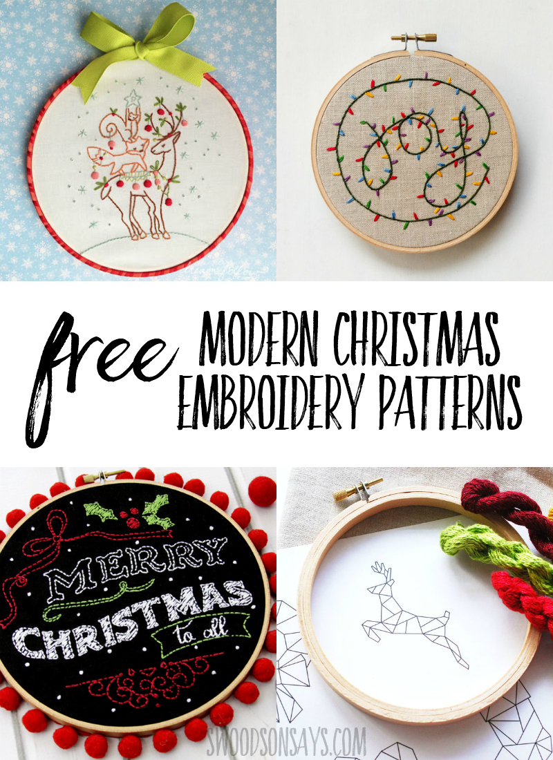 Free Christmas hand embroidery patterns for stitching! These Christmas embroidery designs are free to download and fun to stitch as gifts or wall decor. #embroidery #handembroidery #christmas #christmascrafts