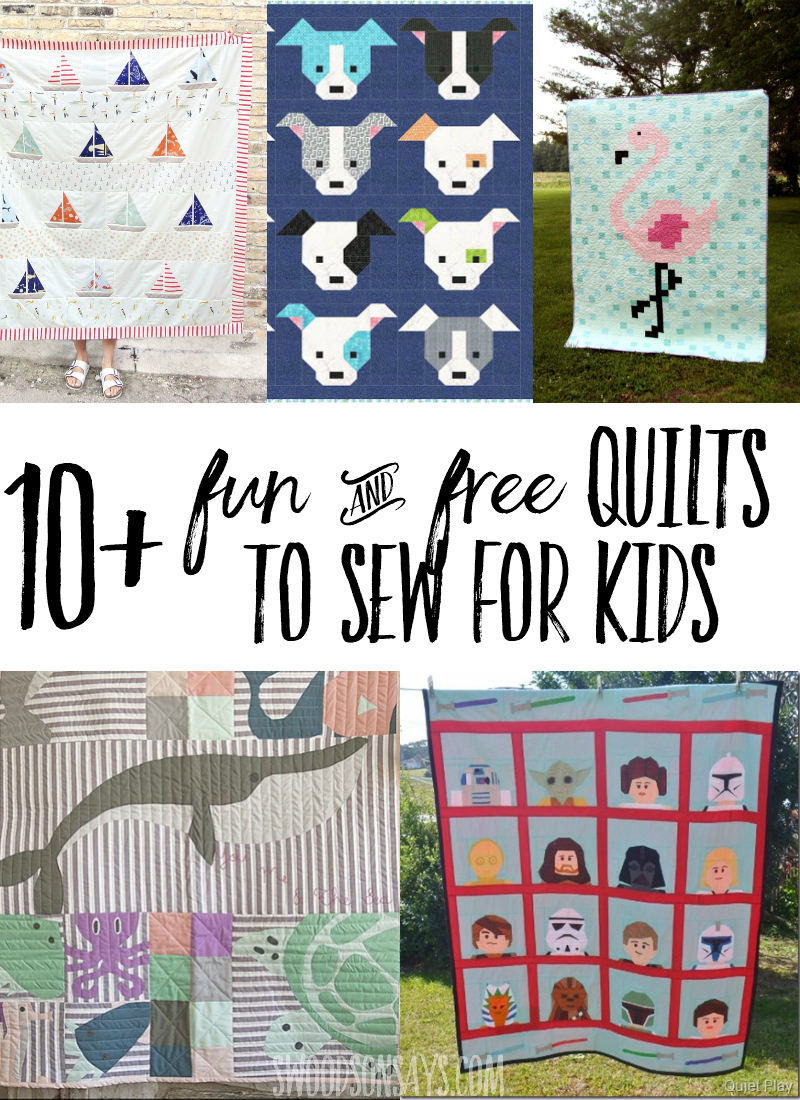 10 of the cutest FREE quilt patterns to sew for big kids! These free quilt tutorials are perfect for gifts and have fun designs that kids will love. #quilts #quilting #sewing #sewingpattern