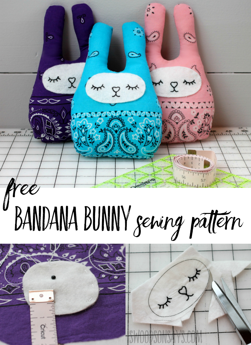 Looking for a simple softie sewing pattern? Use a bandana and sew this cute little bandana bunny! Follow a step by step tutorial and make a snuggly bunny stuffed animal on the cheap! #sewing #sewingtutorials #crafts