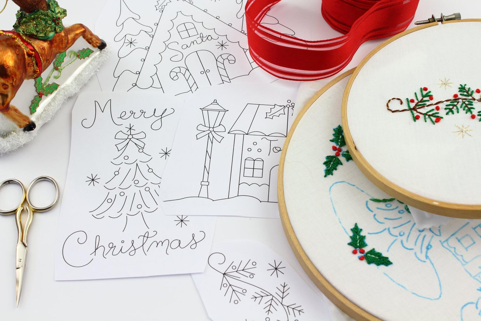 vintage christmas hand embroidery patterns