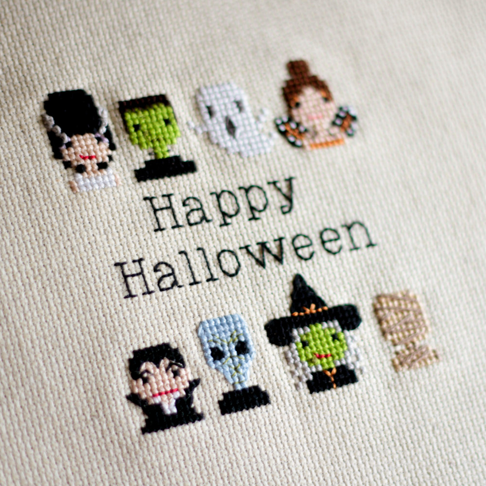 Happy Halloween Costumed People Cross Stitch Pattern From Stitch People