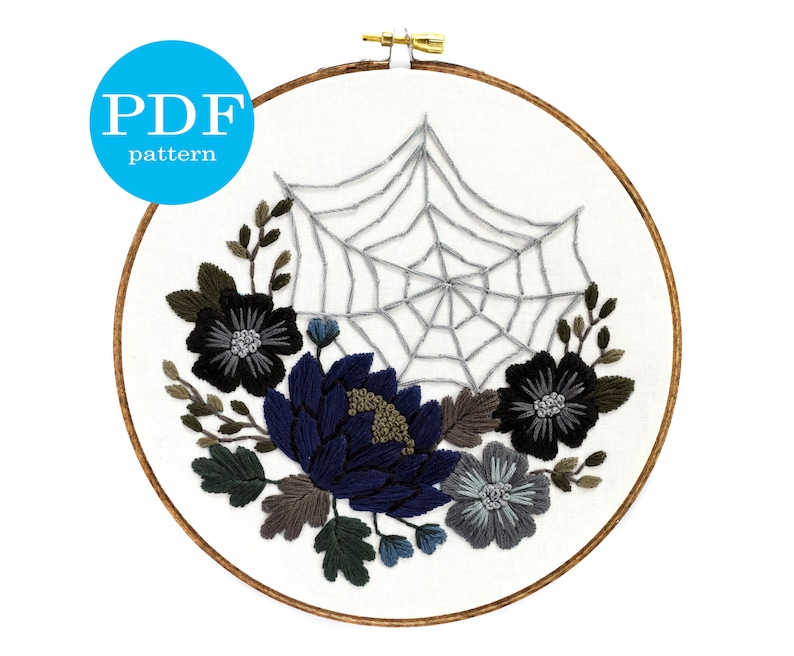 halloween floral spiderweb embroidery pattern