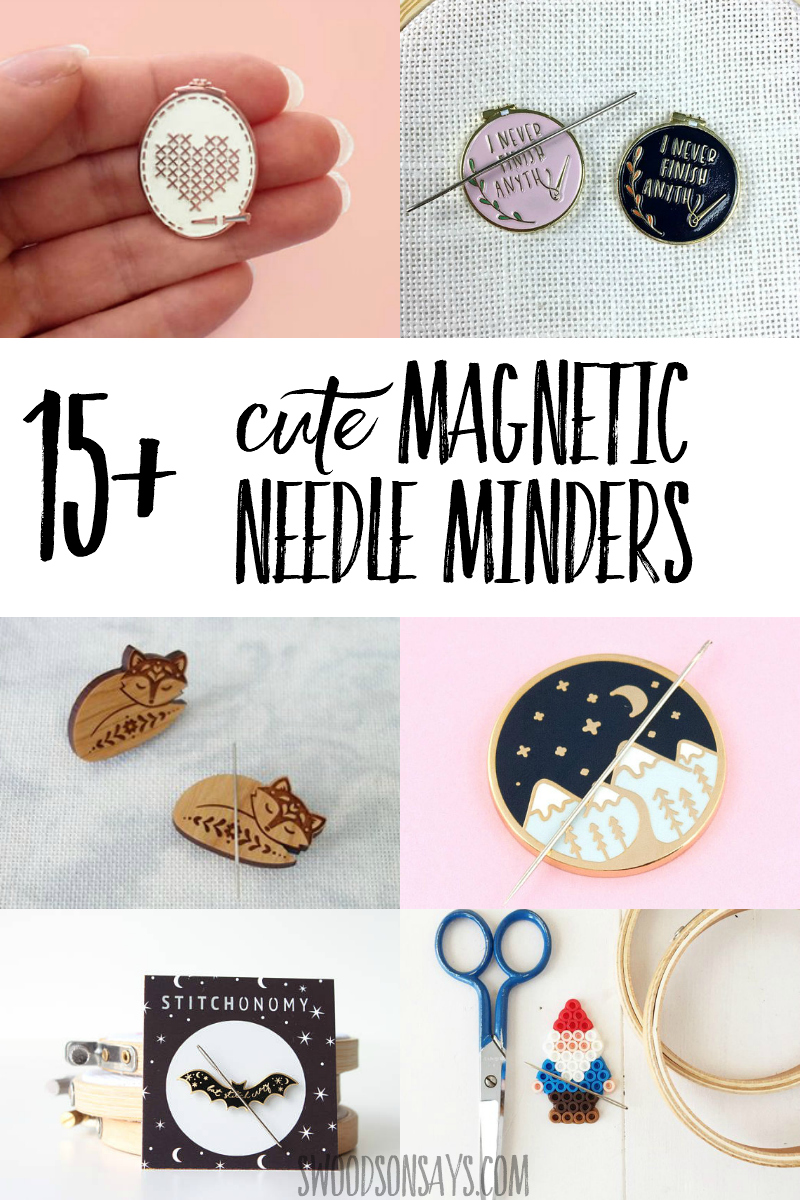 These needle minders are so cute! Check out these fun magnetic needle holder options to buy or DIY; they are great little gifts for embroidery and cross stitch stitchers. #handmebroidery #needleminder #crossstitch #needlework