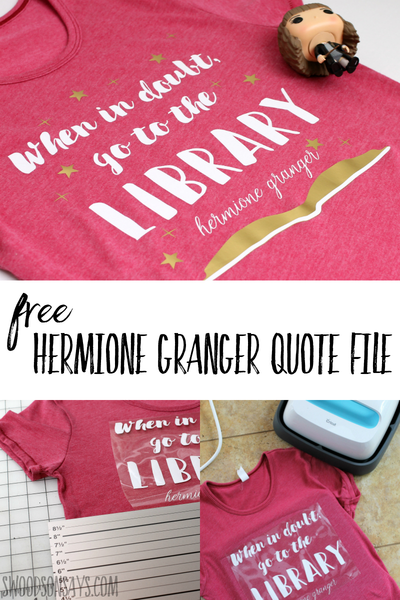 Get crafty with this fun Harry Potter quote t-shirt! Represent Hermione Granger and your love of libraries; download the free harry potter svg to get started. #cricut #harrypotter #crafts #svg