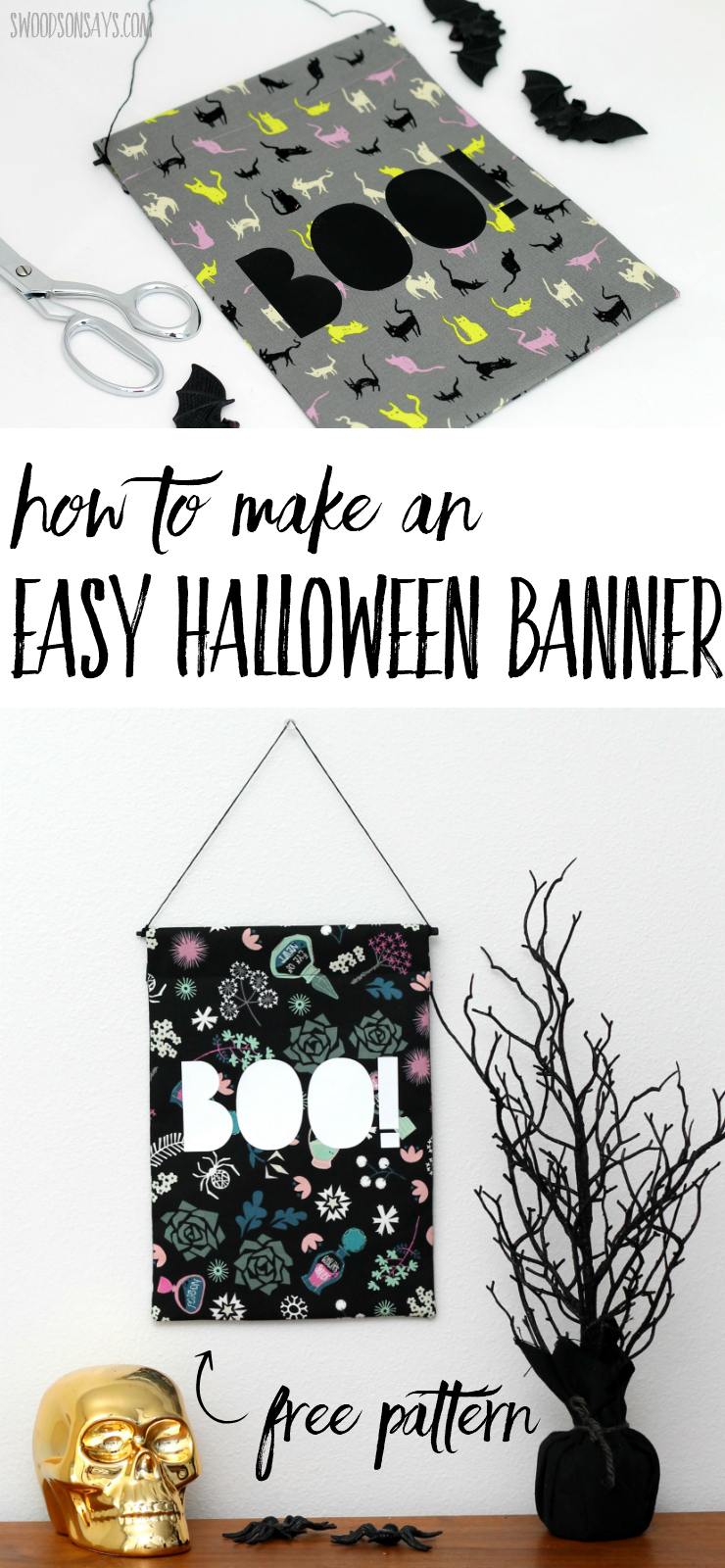 Use this free sewing tutorial to make an easy Halloween banner! Includes a free Halloween cut file and picture tutorial for fun Halloween sewing. #diyhalloween