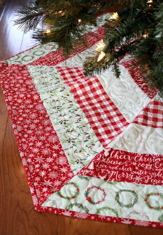 appliqued house christmas tree skirt pattern from claire turpin design