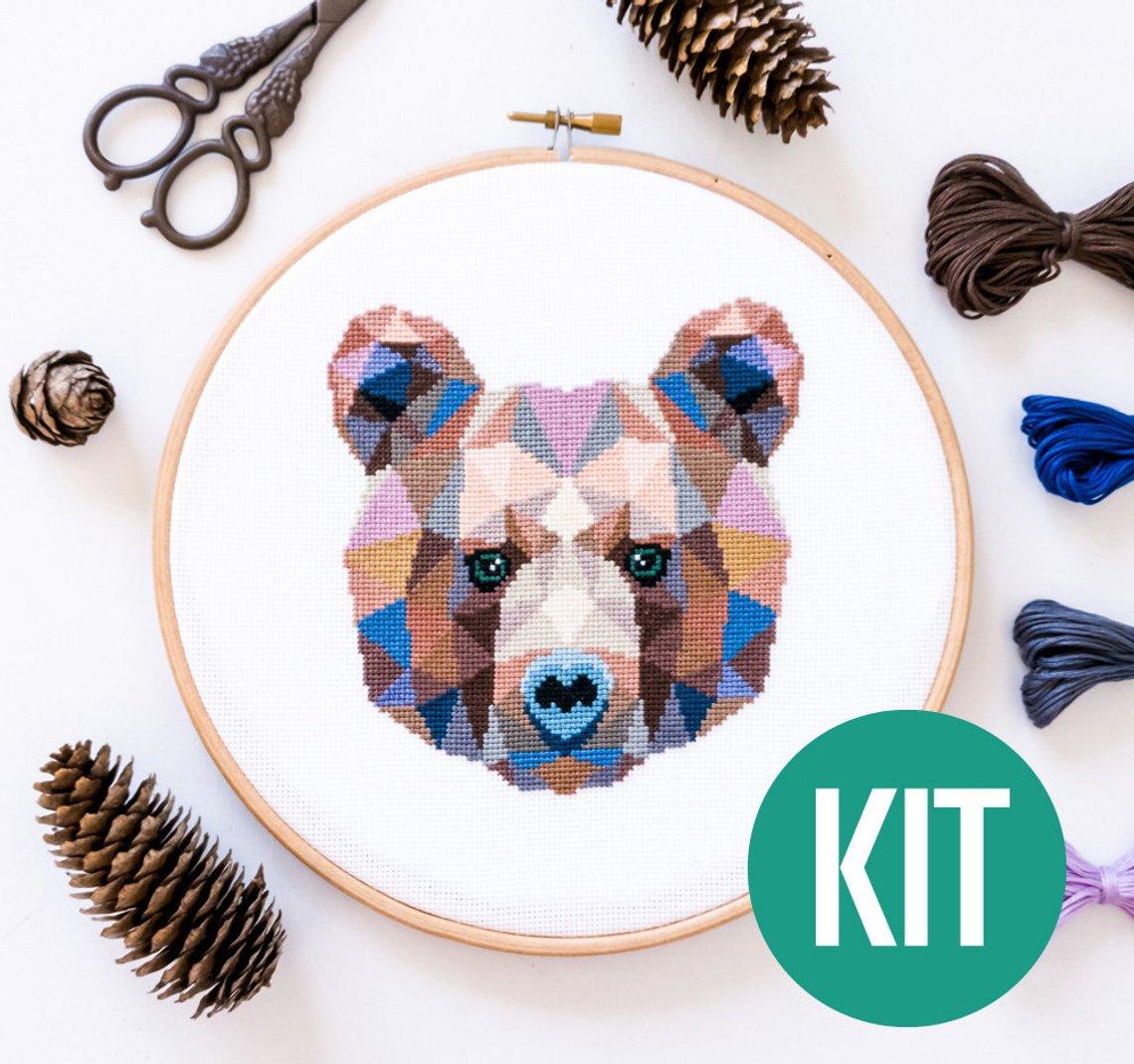 bear cross stitch kit modern animal